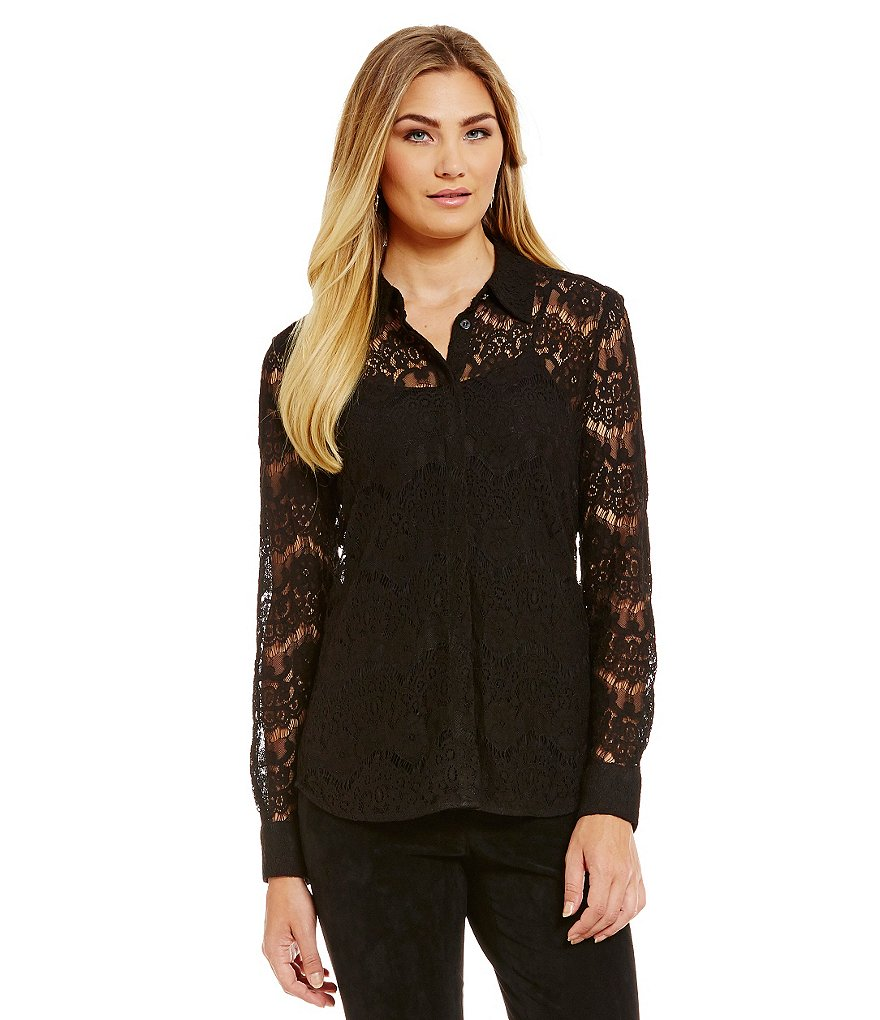 KARL LAGERFELD PARIS Lace Long Sleeve Blouse