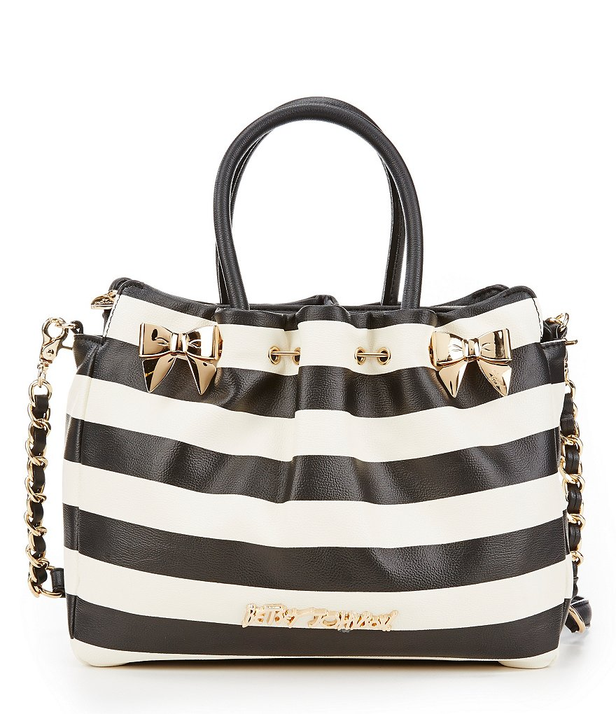 Betsey Johnson In A Pinch Striped Satchel with Battery
