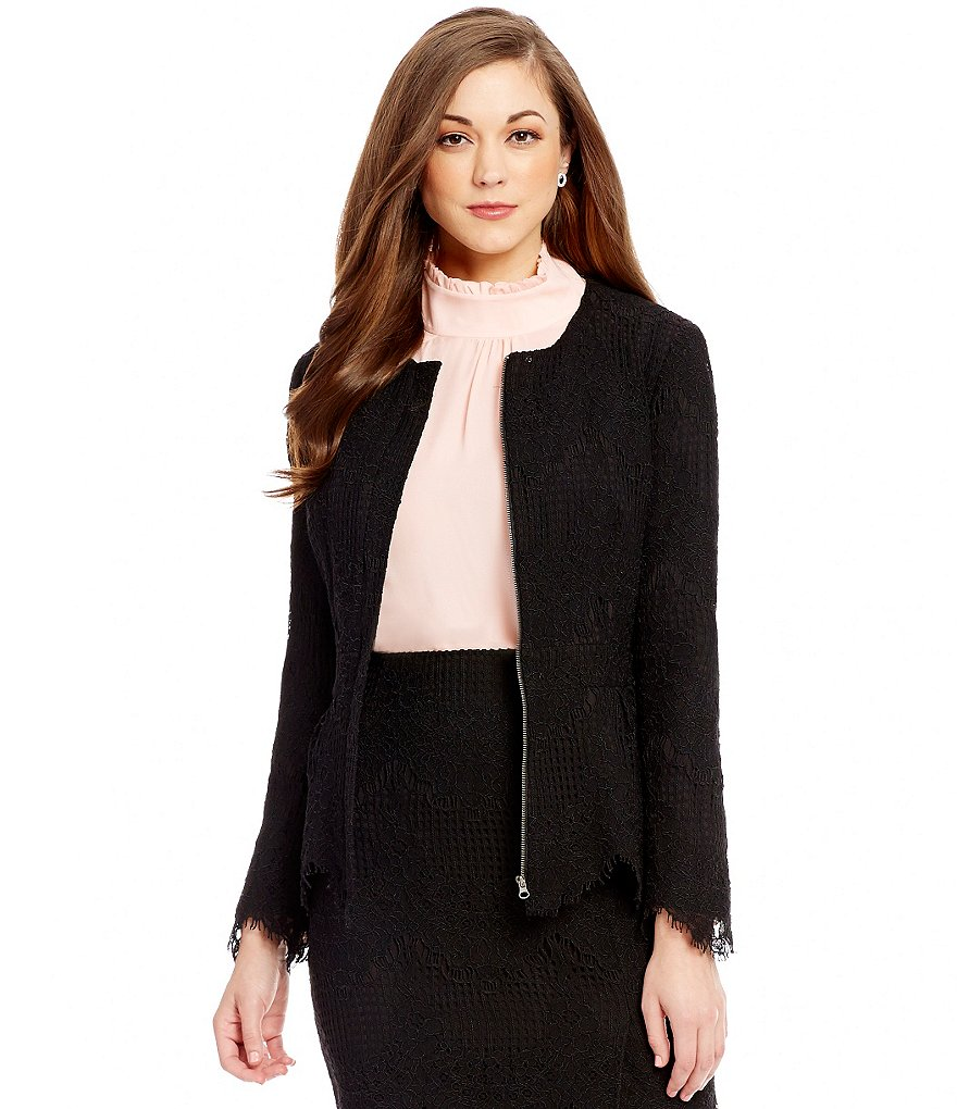 Antonio Melani Eleanor Crew Neck Peplum Lace Jacket