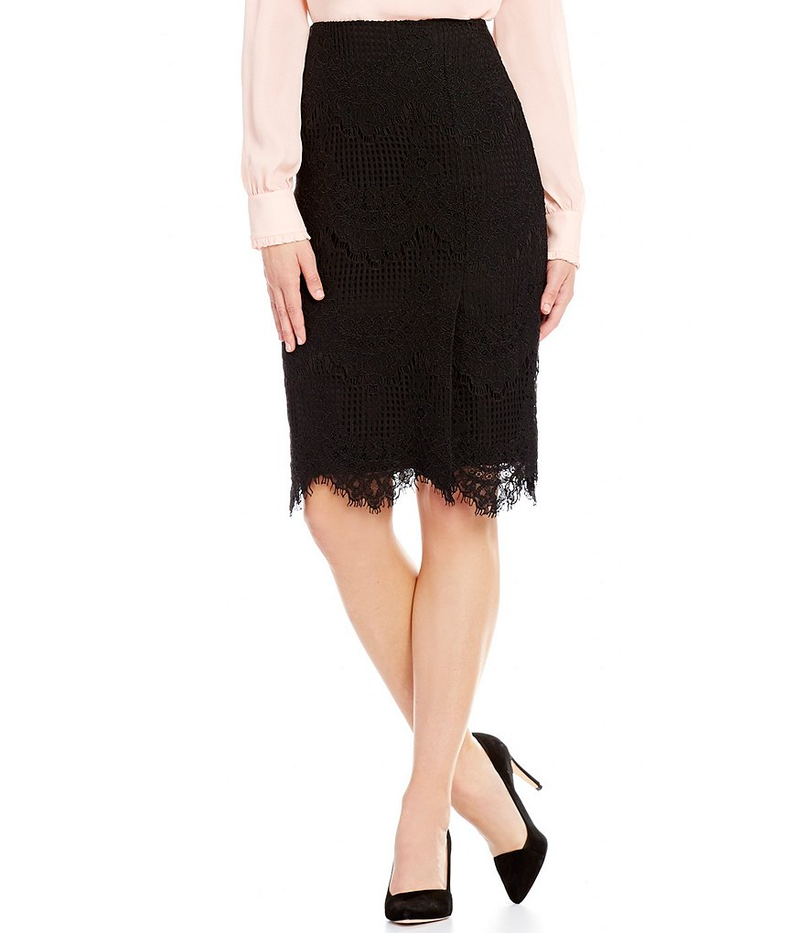 Antonio Melani Esme Pencil Lace Scalloped Hem Skirt