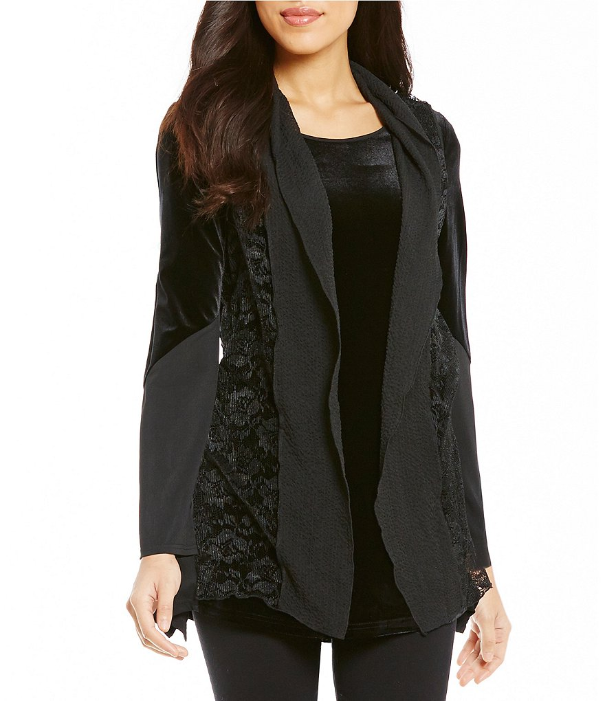 Calessa Velvet Twofer Lace Cardigan and Tank