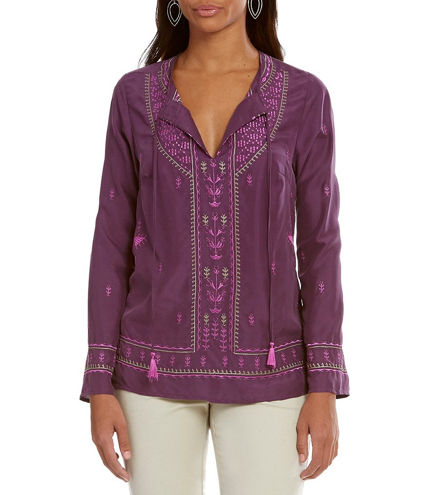 Sigrid Olsen Signature Embroidered Silk Blouse