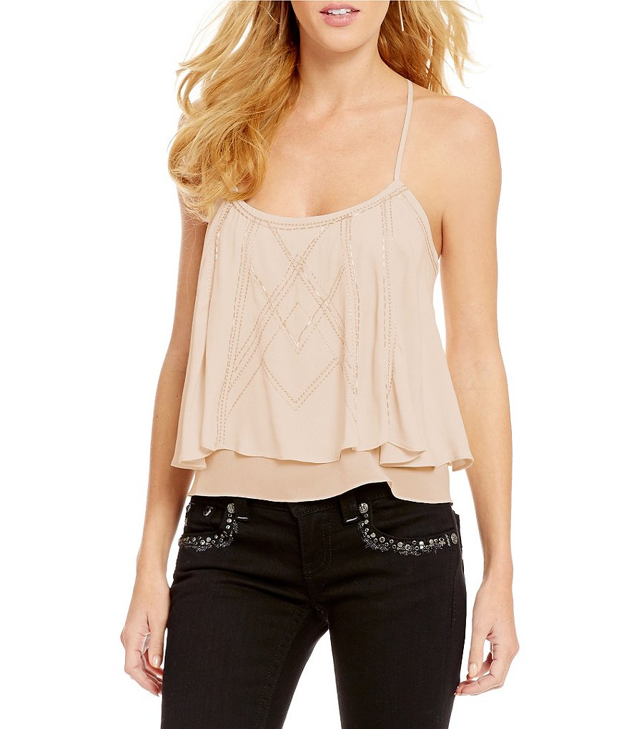 Miss Me Sequin Double Layer Camisole Top