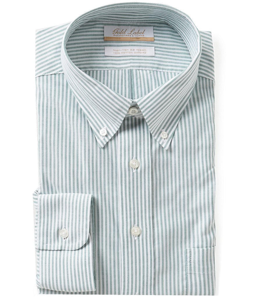 Gold Label Roundtree & Yorke Non-Iron Regular Full-Fit Bengal-Striped Oxford Dress Shirt