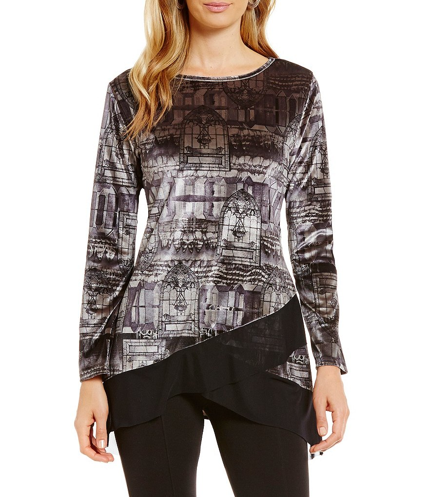 Calessa Velvet Window Print Long Sleeve Velvet Tunic