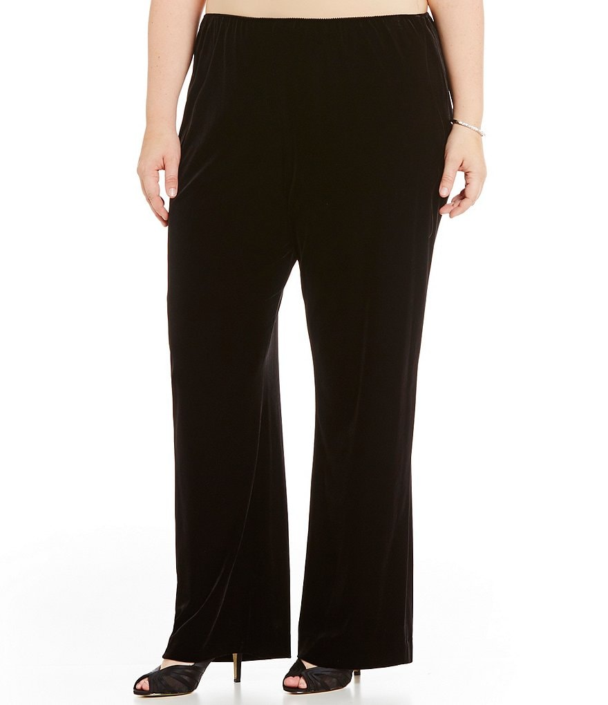 Alex Evenings Plus Velvet Flat Front Straight Leg Pant