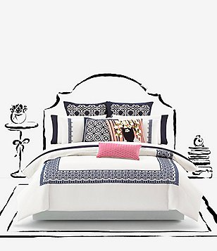 kate spade new york Folk Art Medallion-Embroidered Bordered Cotton Percale Duvet