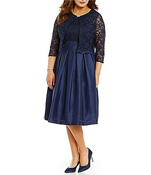 Jessica Howard Plus Scalloped Trim Lace 2-Piece Jacket Dress