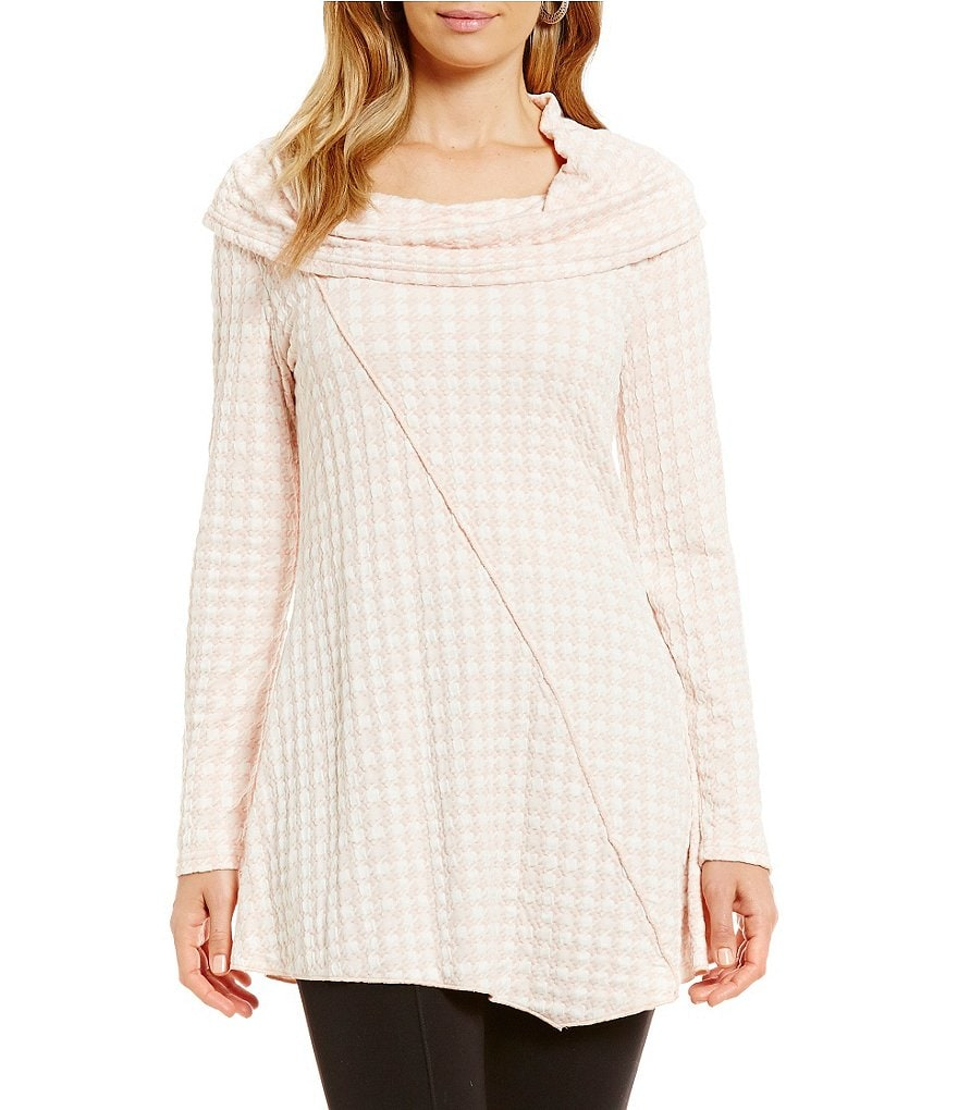 Calessa Houndstooth Cowl Neck Tunic