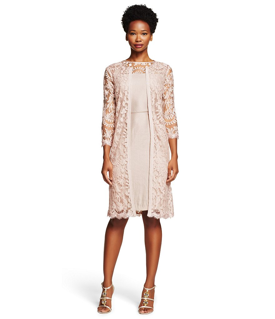 Adrianna Papell Petite 3/4-Sleeve Lace Jacket Dress