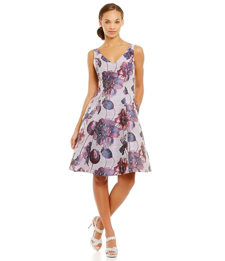 Adrianna Papell Petite Floral Jacquard A-Line Dress