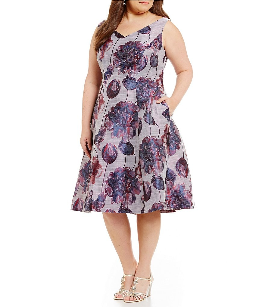 Adrianna Papell Plus Floral Jacquard A-Line Dress