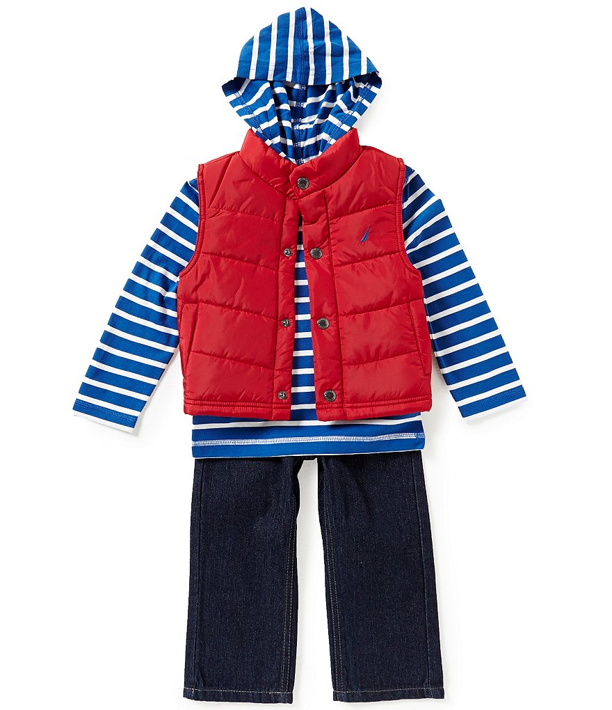 Nautica Little Boys 2T-4T Vest, Striped Long-Sleeve Hoodie, and Denim Jeans Set