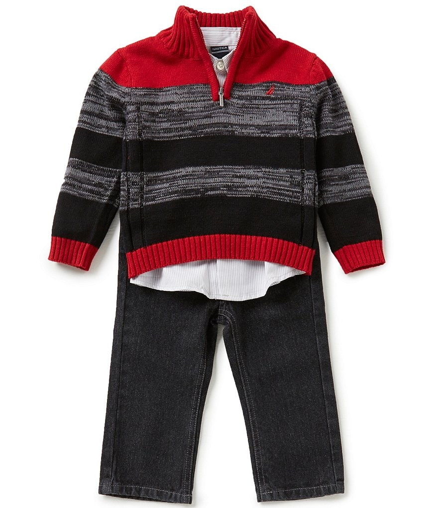 Nautica Little Boys 2T-4T Striped Half-Zip Sweater, Woven Shirt, and Denim Jeans Set