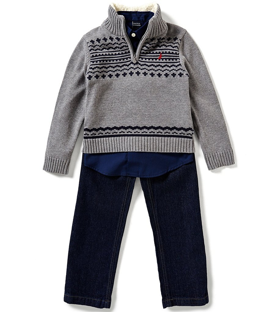 Nautica Little Boys 2T-4T Patterned Half-Zip Sweater, Checked Woven Shirt, and Denim Jeans Set