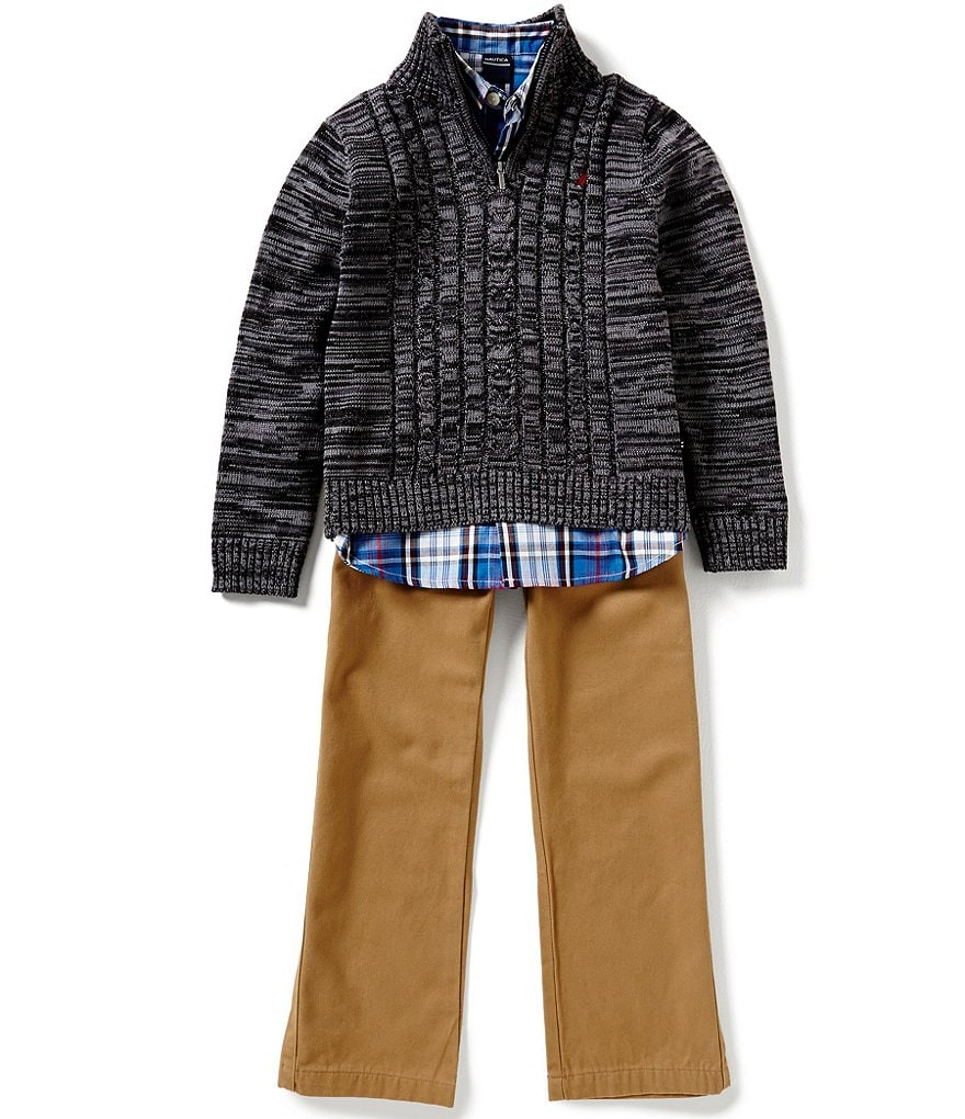 Nautica Big Boys 8-20 Half-Zip Cable-Front Sweater, Plaid Long-Sleeve Woven Shirt, & Twill Pants Set