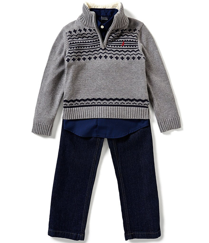 Nautica Little Boys 4-7 Patterned Half-Zip Sweater, Checked Woven Shirt & Denim Jeans Set
