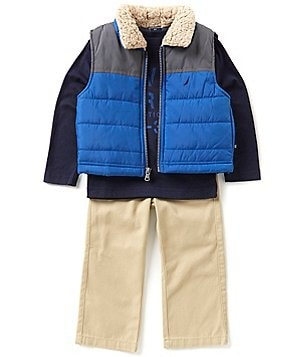 Nautica Little Boys 2T-4T Vest, Long-Sleeve Tee, and Twill Pants Set