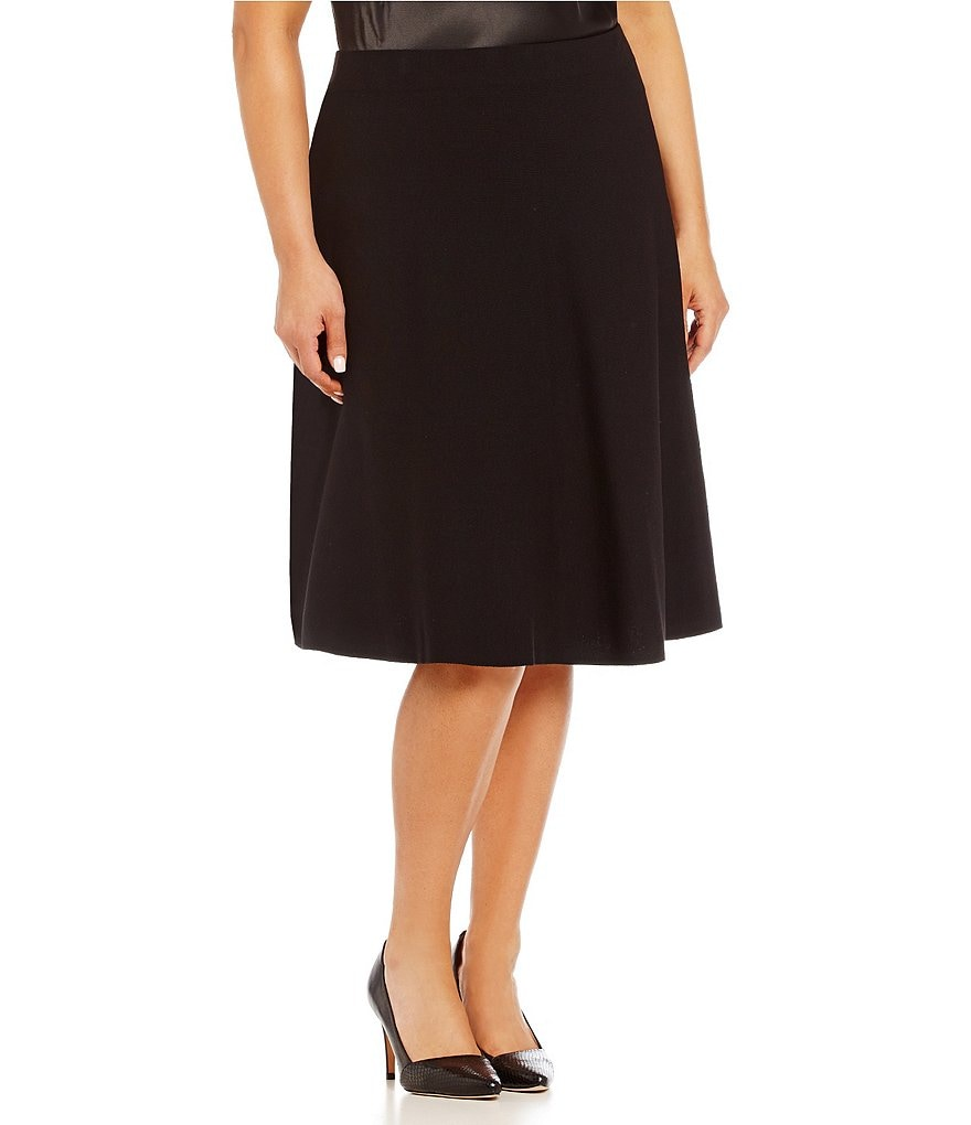 Kasper Plus Fit-and-Flare Knit Skirt
