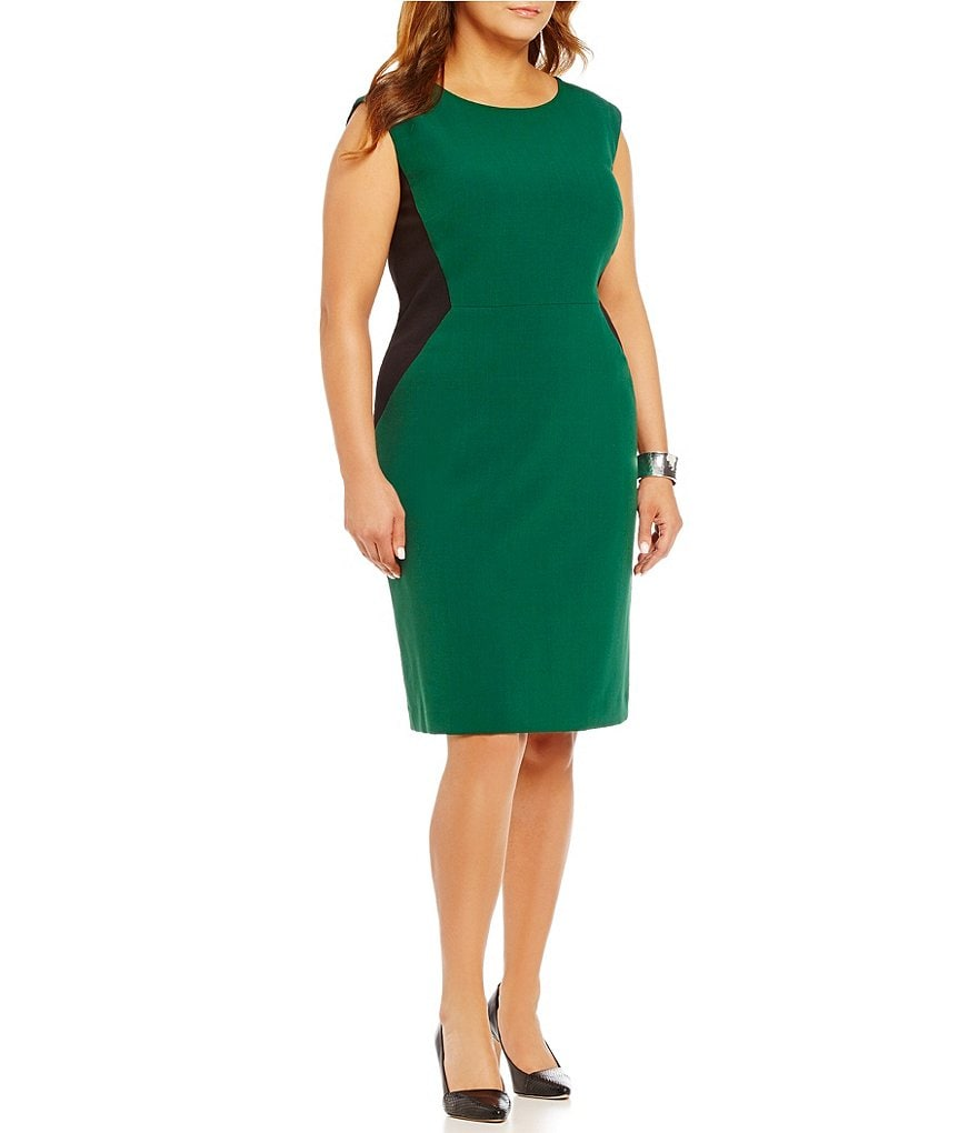 Kasper Plus Stretch Crepe Colorblock Sheath Dress