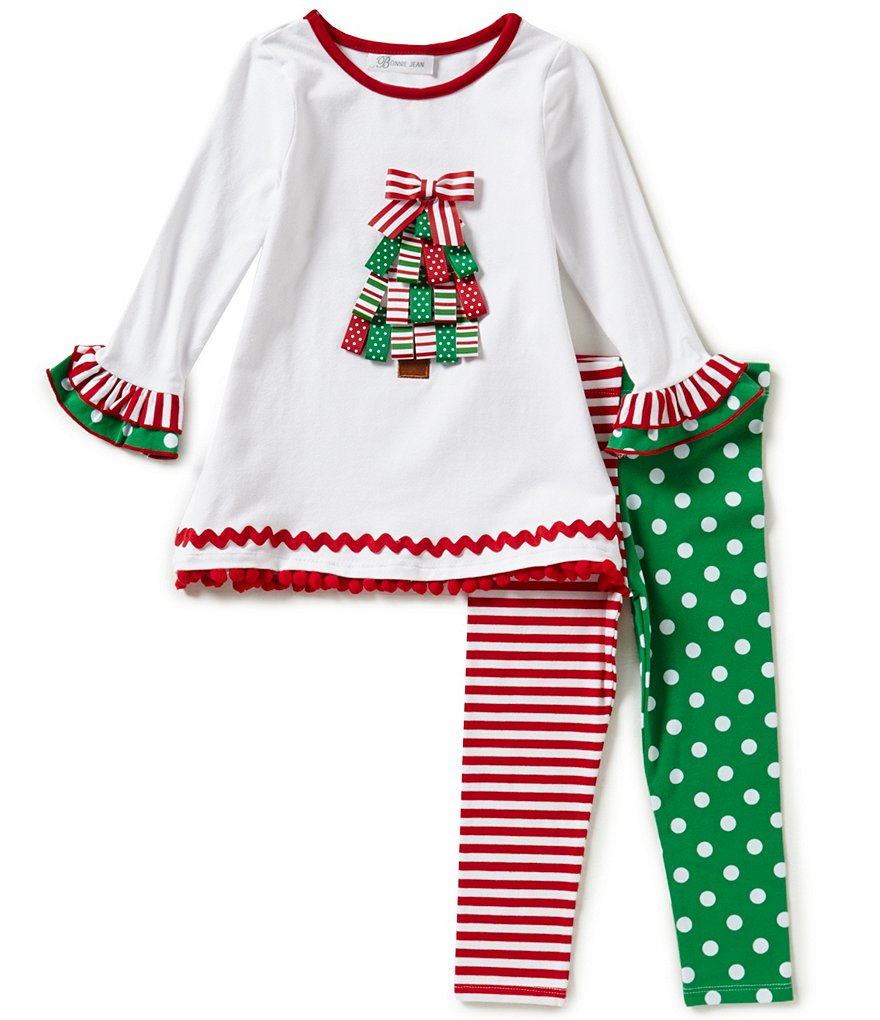 Bonnie Jean Little Girls 2T-6X Christmas Tree Top and Pants Set