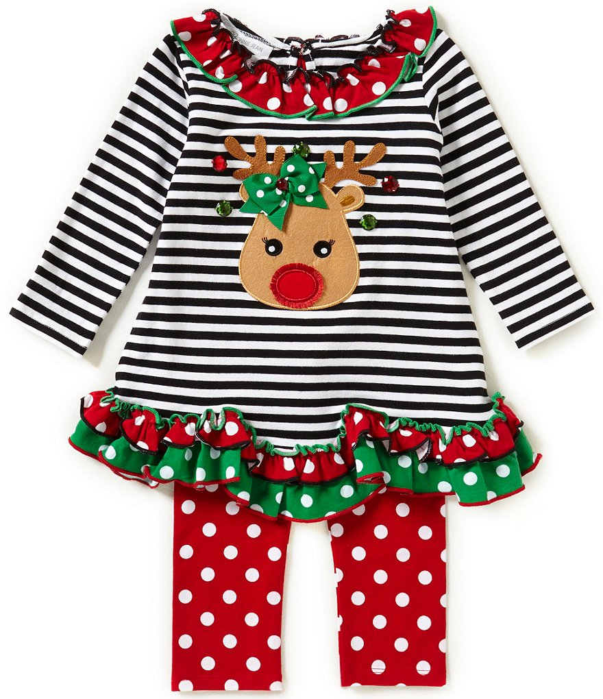 Bonnie Jean Little Girls 2T-6X Christmas Reindeer-Ruffled Top and Pants Set