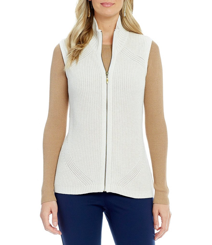 Pendleton Mock Neck Zip Front Shaker Stitch Sweater Vest
