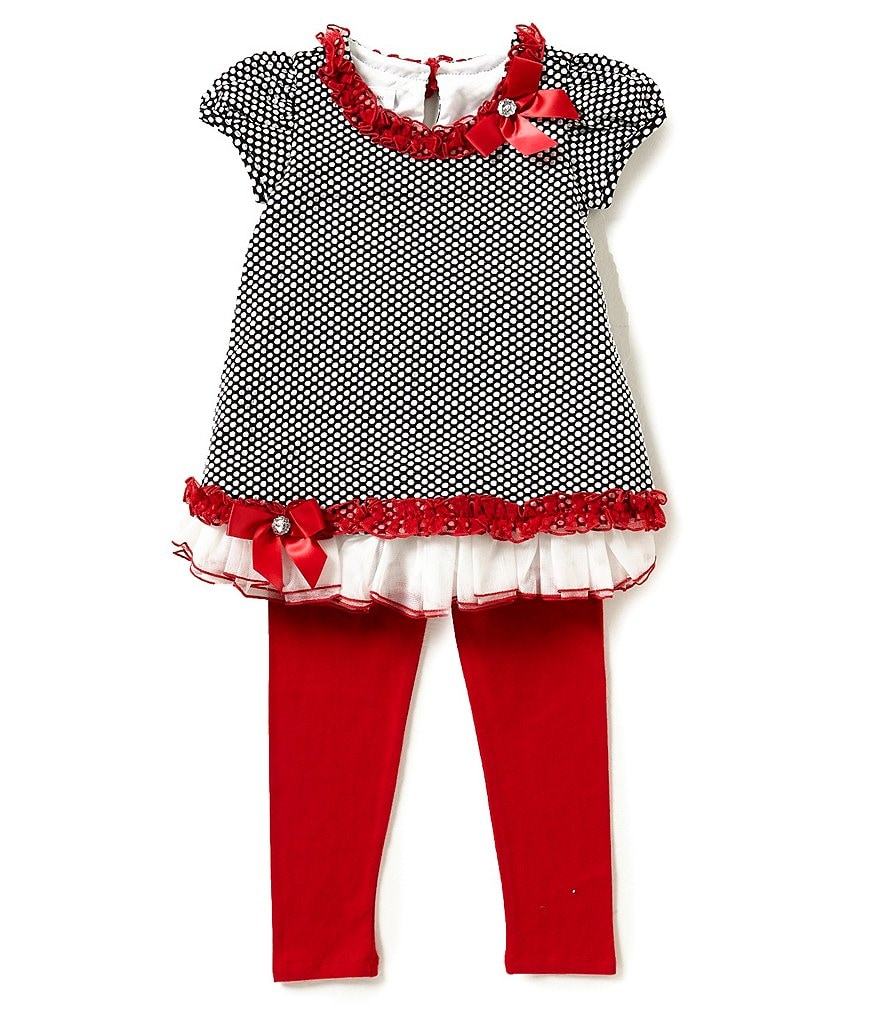 Bonnie Jean Little Girls 2T-6X Dotted Top & Pants Set