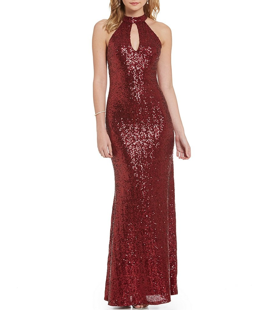 B. Darlin Choker Neckline Long Sequin Mermaid Dress