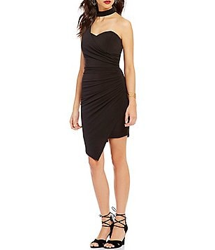 I.N. San Francisco Choker Neckline Draped Asymmetrical Sheath Dress