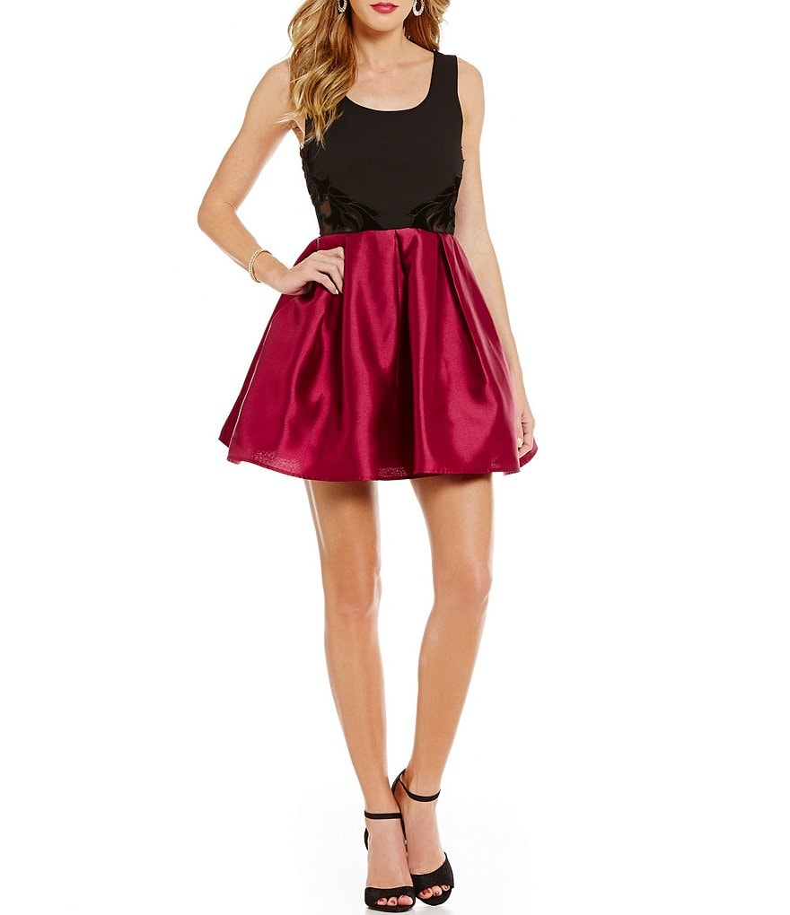 Teeze Me Color Block Illusion-Waist Fit-and-Flare Dress