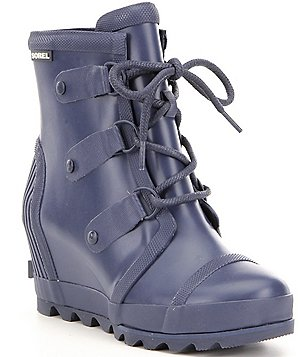Sorel Joan Vulcanized Rubber Lace Up Waterproof Rain Wedge Booties