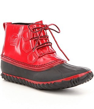 Sorel Women´s Out N About Patent Leather Lace Up Waterproof Booties