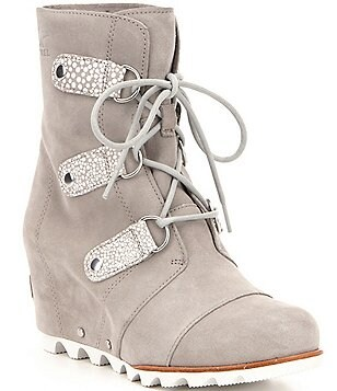 Sorel Joan Of Arctic Waterproof Leather Lace Up Wedge Mid Booties
