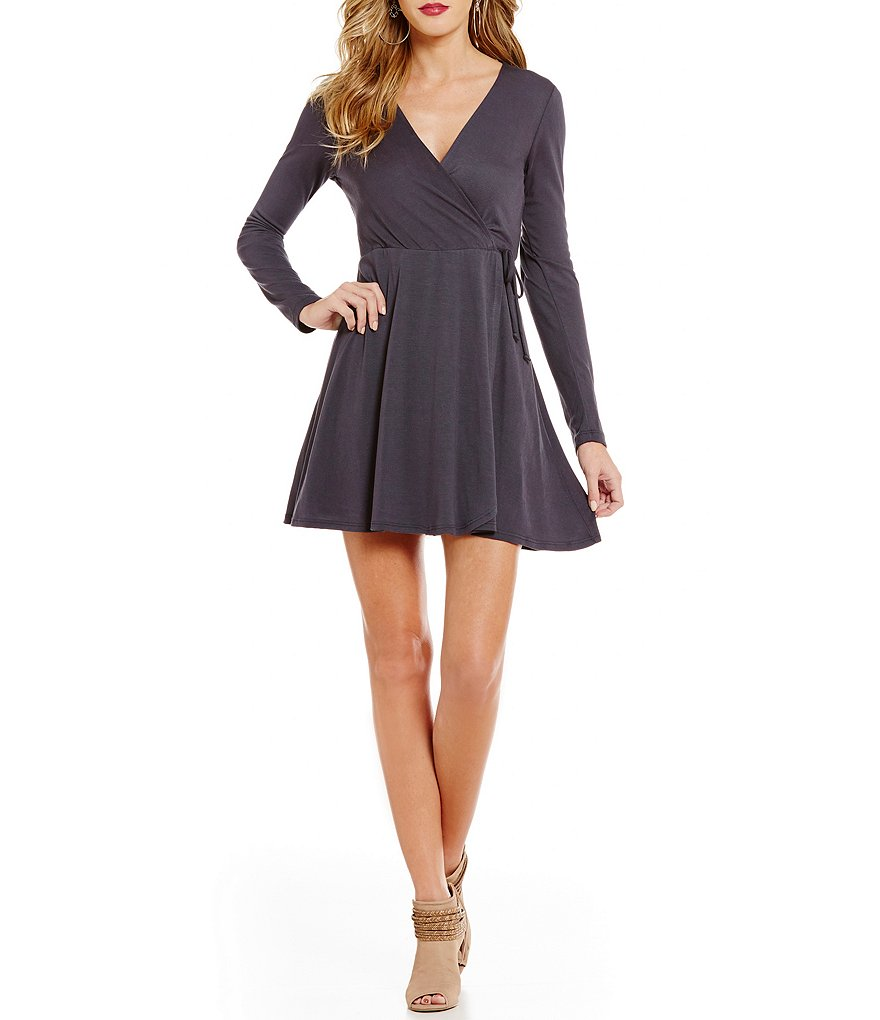 Teeze Me Side-Wrap V-Neck Skater Dress