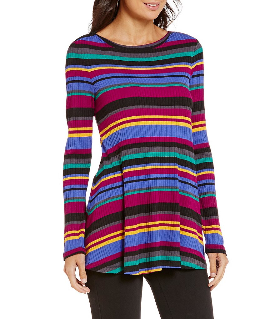Westbound Long Sleeve Bateau Striped Top