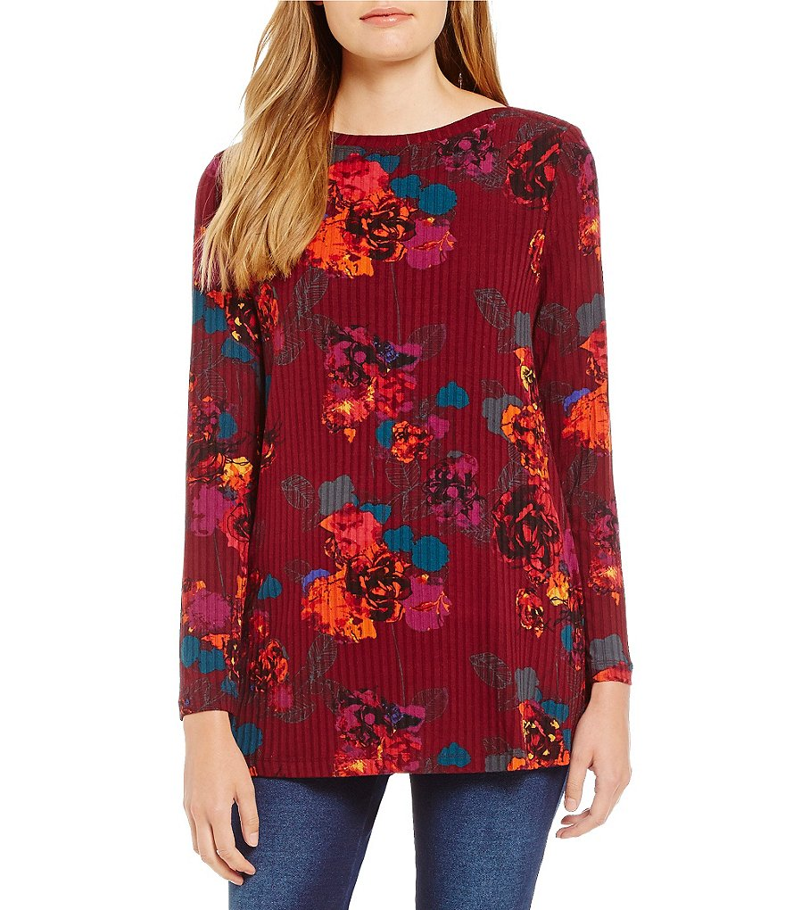 Westbound Long Sleeve Bateau Floral Top