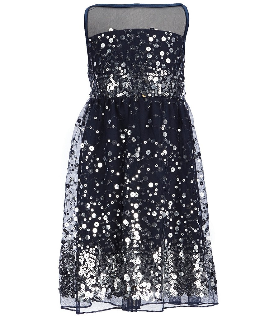 Honey and Rosie Little Girls 4-6X Sequin Tie-Back Dress