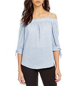 I.N. San Francisco Off-The-Shoulder Tie-Sleeve Dotted Top