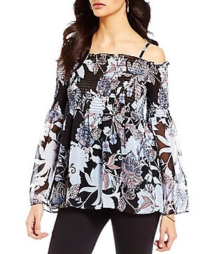 I.N. San Francisco Tropical Floral Print Bell-Sleeve Smocked Off-the-Shoulder Top