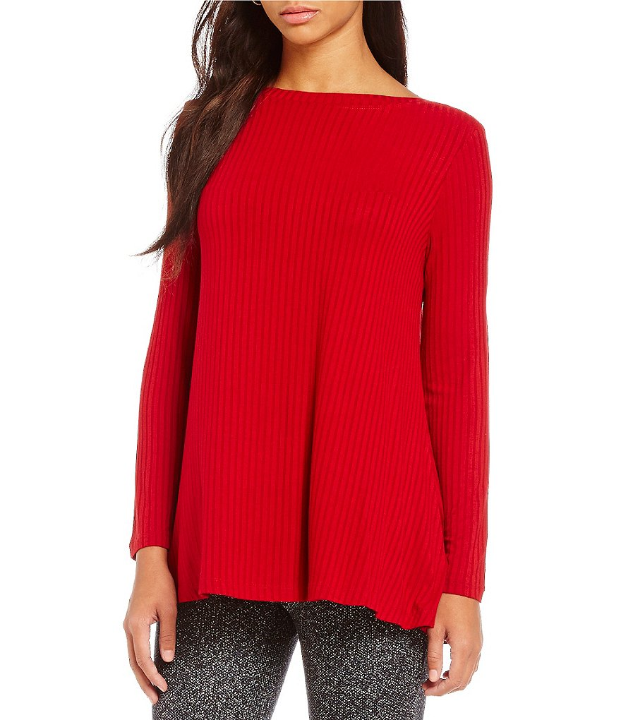 Westbound Petites Long Sleeve Bateau Neck Solid Top