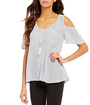 Takara Striped Cold-Shoulder High-Low Knit Top