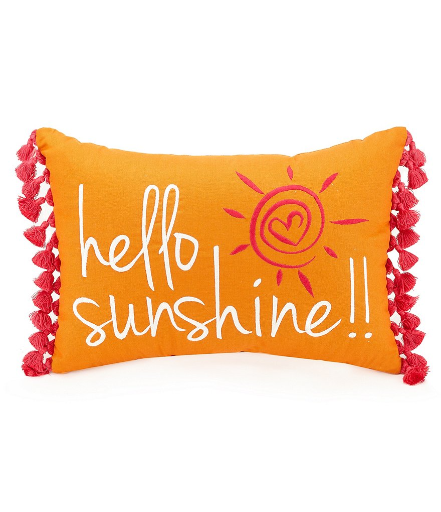 Jessica Simpson Hello Sunshine Embroidered Tasseled Breakfast Pillow