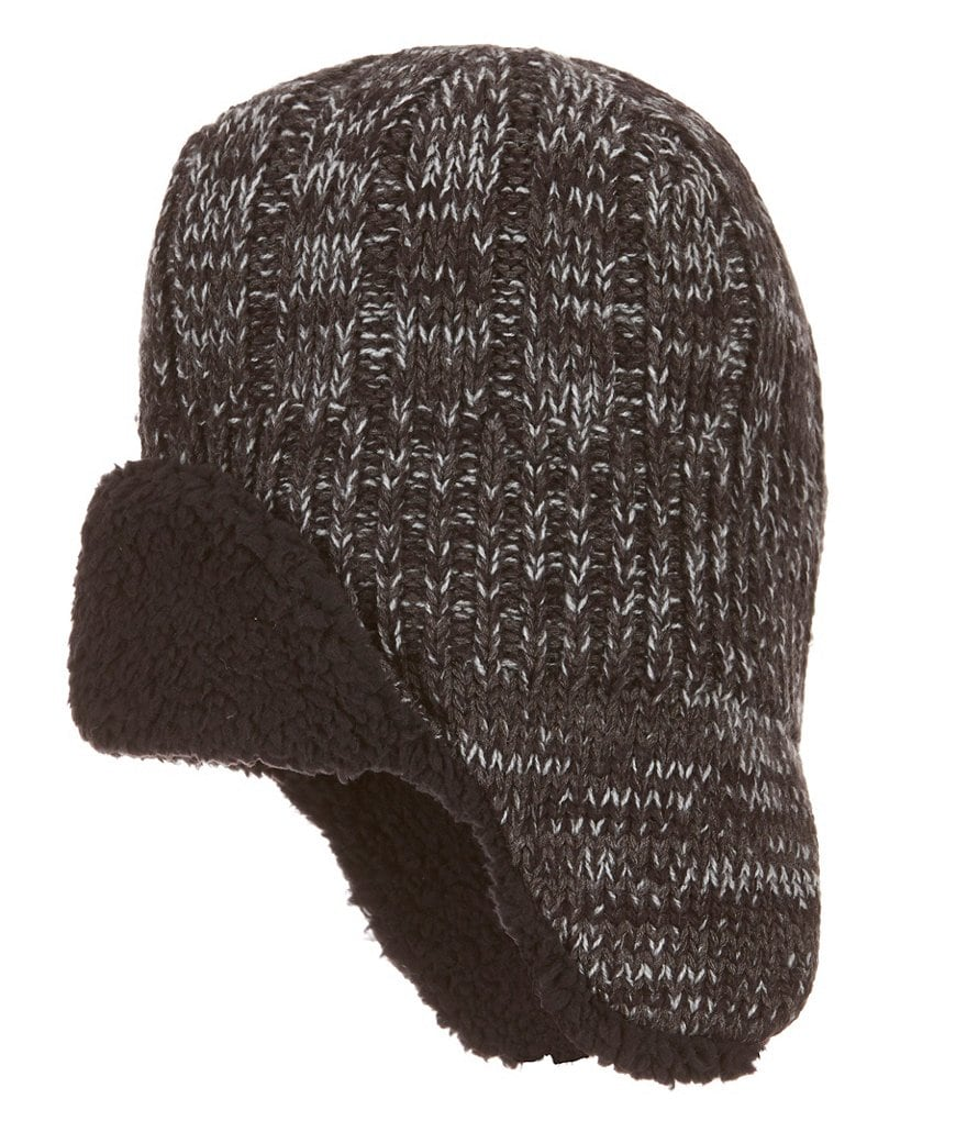Lake of the Isles Marled Ribbed-Knit Peruvian Hat with Faux Sherpa