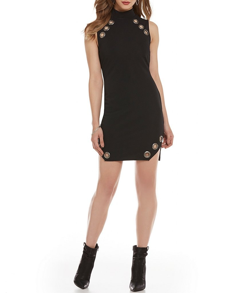 As U Wish Grommet-Trimmed Mockneck Sheath Dress