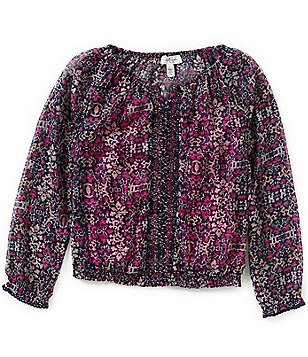 Jessica Simpson Little Girls 2T-6X Bayford Printed Embroidered Long-Sleeve Peasant Top