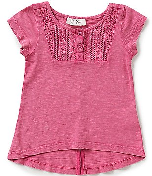 Jessica Simpson Little Girls 2T-6X Gelato Lace-Trim Split-Back Tee