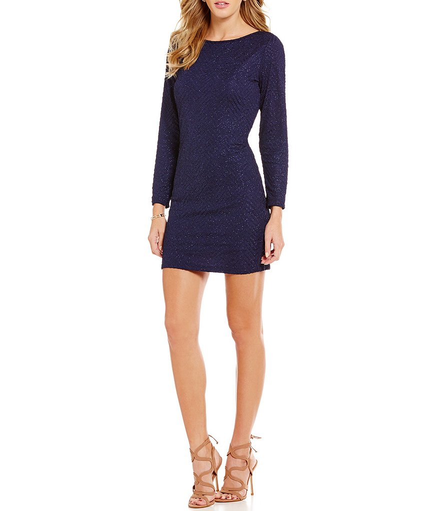 Honey and Rosie Long-Sleeve Glitter X-Back Sheath Dress