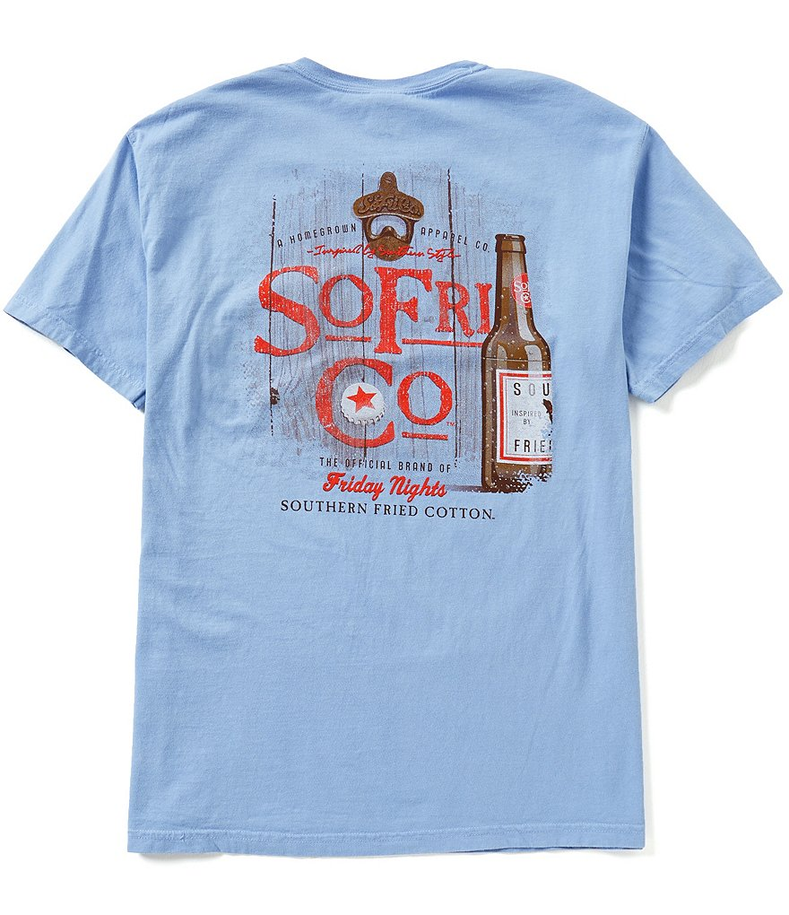 Southern Fried Cotton Mens Friday Nights Graphic Short-Sleeve Pocket Tee