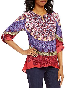 Figueroa & Flower Devon V-Neck 3/4 Sleeve Print Blouse